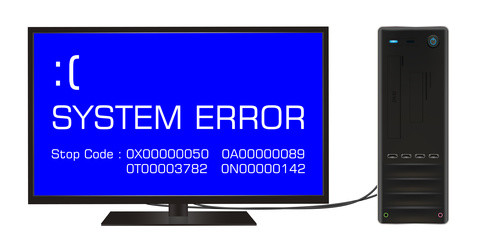 broken desktop computer error screen